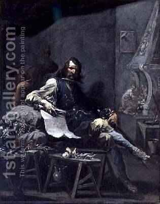 Satire on a Nobleman in Misery 1719-1725 by Alessandro Magnasco - Reproduction Oil Painting