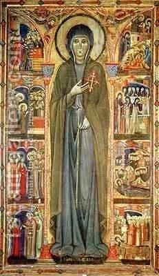St Clare with Scenes from her Life by di Santa Chiara Maestro - Reproduction Oil Painting
