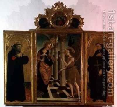 Triptych central panel depicting the Annunciation with God above and side panels bearing the figures of two saints by Nicola de Maestro Antonio - Reproduction Oil Painting