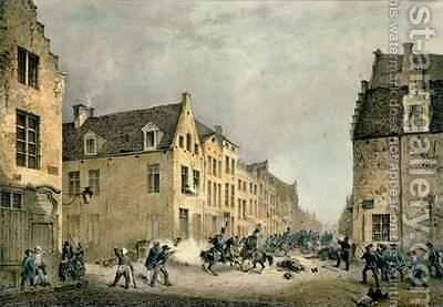 Diversion of a Dutch Division at the Porte de Flandre by Jean-Baptiste Madou - Reproduction Oil Painting
