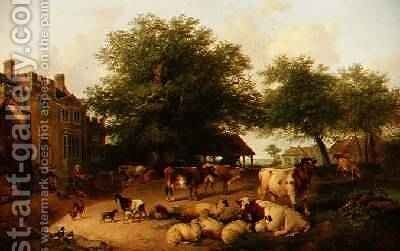 Farmyard scene by Antonius Josephus Madlener - Reproduction Oil Painting