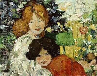 Two Sisters 1899 by Bessie MacNicol - Reproduction Oil Painting