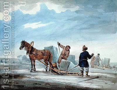 Transporting Ice by Horsedrawn Sledge by (after) MacMichael, William - Reproduction Oil Painting