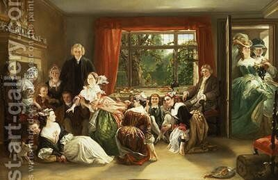 Hunt the Slipper at Neighbour Flamboroughs by Daniel Maclise - Reproduction Oil Painting