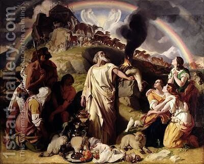 Noahs Sacrifice 1847-53 by Daniel Maclise - Reproduction Oil Painting