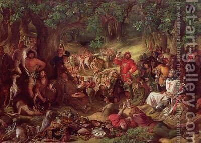 Robin Hood and his Merry Men Entertaining Richard the Lionheart in Sherwood Forest by Daniel Maclise - Reproduction Oil Painting