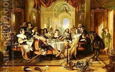The Authors Introduction to the Players by Daniel Maclise - Reproduction Oil Painting
