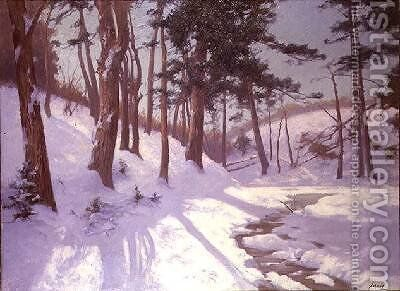 Winter woodland with a stream by James MacLaren - Reproduction Oil Painting