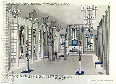 Design for a Music Room with panels by Margaret Macdonald Mackintosh by Charles Rennie Mackintosh - Reproduction Oil Painting