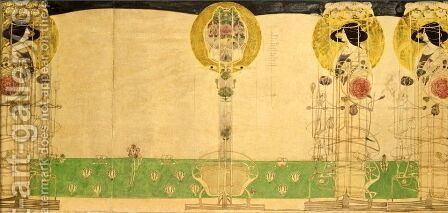 Preliminary design for Mural decoration of the first floor Room of Miss Cranstons Buchanan Street Tearooms by Charles Rennie Mackintosh - Reproduction Oil Painting
