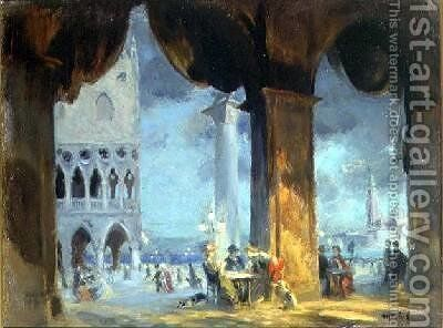 In the Piazzetta Venice 1908 by Charles Hodge Mackie - Reproduction Oil Painting
