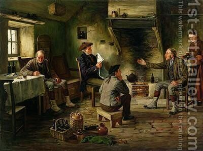 A Good Yarn by A. MacKenzie - Reproduction Oil Painting