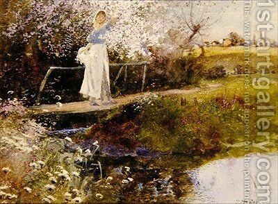 The Orchard Brook by Thomas Mackay - Reproduction Oil Painting