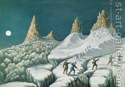 Departure from the Great Mulets The Arrival at the Summit The Ascent of Mont Blanc by Albert Smith by (after) MacGregor, J. J. - Reproduction Oil Painting