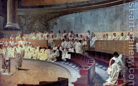 Cicero 106-43 BC in the Senate Accusing Catiline of Conspiracy on 21st October 63 BC 1889 by Cesare Maccari - Reproduction Oil Painting