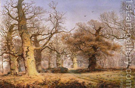 Oak Trees in Sherwood Forest 1877 by Andrew MacCallum - Reproduction Oil Painting