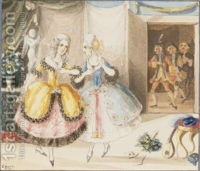 Characters from Cosi fan tutte by Mozart 1840 by Johann Peter Lyser - Reproduction Oil Painting