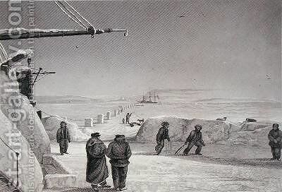 Situation of HM Ships Fury and Hecla at Igloolik by Captain George Francis Lyon - Reproduction Oil Painting