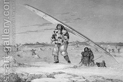 An Eskimaux of Igloolik wearing a bird-skin jacket carrying his canoe down to the water by Captain George Francis Lyon - Reproduction Oil Painting