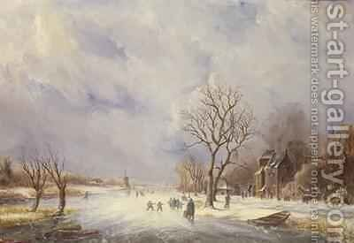 Winter Canal Scene by Jan Lynn - Reproduction Oil Painting