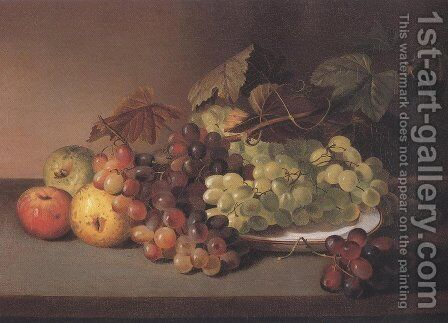 Grapes And Apples 1825 31 by James Peale - Reproduction Oil Painting