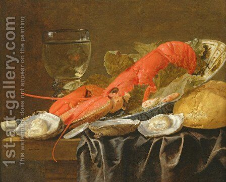 Still life with lobster shrimp roemer oysters and bread by Christian Luycks - Reproduction Oil Painting