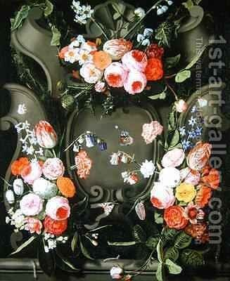 A stone cartouche adorned with bouquets of flowers by Christian Luycks - Reproduction Oil Painting