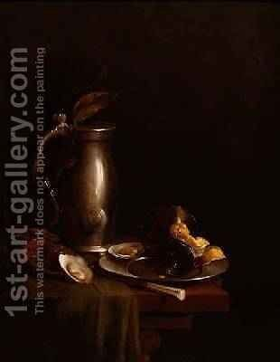 A pewter jug and plate by Simon Luttichuys - Reproduction Oil Painting