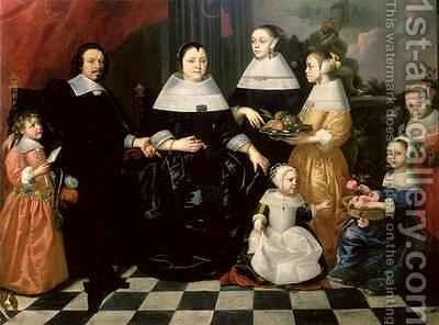 Group Portrait said to be the Kuysten Family by Isaac Luttichuys - Reproduction Oil Painting