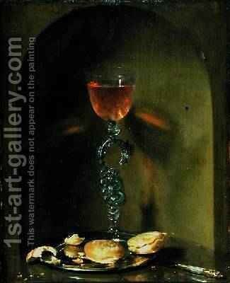 Still Life with Bread and Wine Glass by Isaac Luttichuys - Reproduction Oil Painting