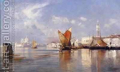 On the Lagoon Venice by Ascan Lutteroth - Reproduction Oil Painting