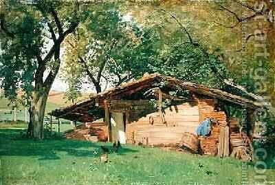 A Hut at Chiemsee 1872 by Ascan Lutteroth - Reproduction Oil Painting