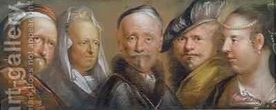 Studies of Five Heads after Rembrandt by Edward Lutterell - Reproduction Oil Painting