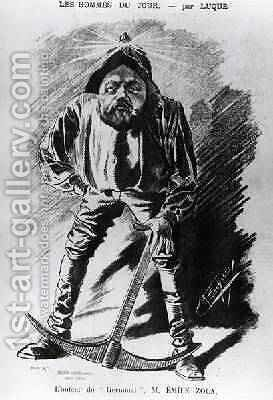 Caricature of Emile Zola 1840-1902 as a miner by (after) Luque, Manuel - Reproduction Oil Painting