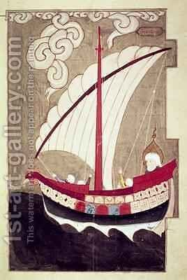 Noah Sailing in his Ark from Zubdat al Tavarikh completed after 1583 by Ashur Luqman-i - Reproduction Oil Painting