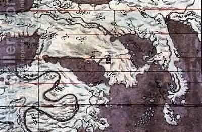 Map of the Earth Southern three peninsulas from Zubdat al Tavarikh after 1583 by Ashur Luqman-i - Reproduction Oil Painting