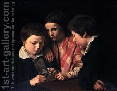 Portrait of the Artists Three Children Playing at a Table 1841 by Anders Lundqvist - Reproduction Oil Painting