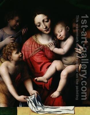 The sleeping Christ or Madonna and sleeping Child with three angels 1532 by Bernardino Luini - Reproduction Oil Painting
