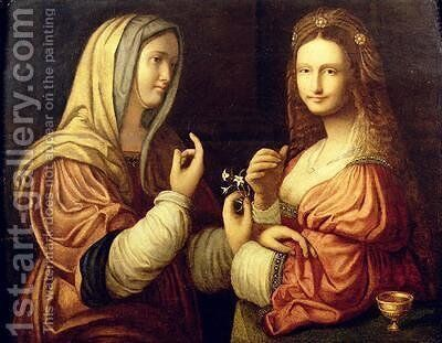 Mary and Martha by Bernardino Luini - Reproduction Oil Painting