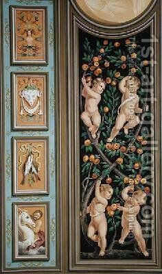 Fresco of Cupids from the Church of St Ambroglio Milan by Bernardino Luini - Reproduction Oil Painting