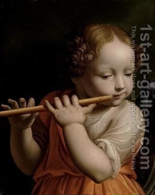 Child Angel Playing a Flute 1500 by Bernardino Luini - Reproduction Oil Painting
