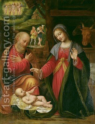 The Nativity after 1525 by Bernardino Luini - Reproduction Oil Painting