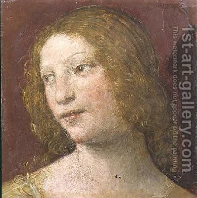 Head of a Young Woman by Bernardino Luini - Reproduction Oil Painting