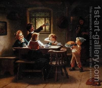 The Birthday Cake by Augusta Ludwig - Reproduction Oil Painting