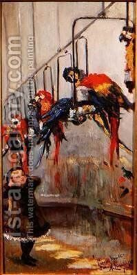 The Parrot House London Zoo by Albert Ludovici - Reproduction Oil Painting