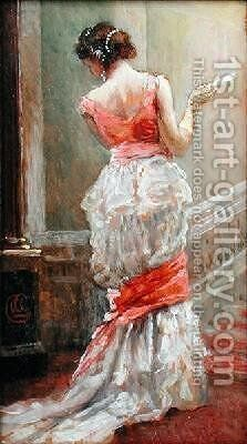 Lady with a Fan by Albert Jnr. Ludovici - Reproduction Oil Painting