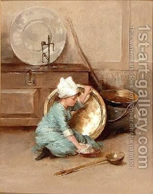 Polishing Brass 1900 by Marie Elizabeth Seymour Lucas - Reproduction Oil Painting