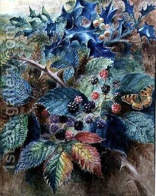 Blackberries and Holly with a Butterfly by Albert Durer Lucas - Reproduction Oil Painting