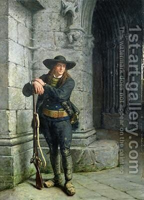 Armed Breton Guarding a Porch by Charles Loyeux - Reproduction Oil Painting