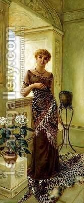 Classical Woman by a Window 1881 by Charles Frederick Lowcock - Reproduction Oil Painting